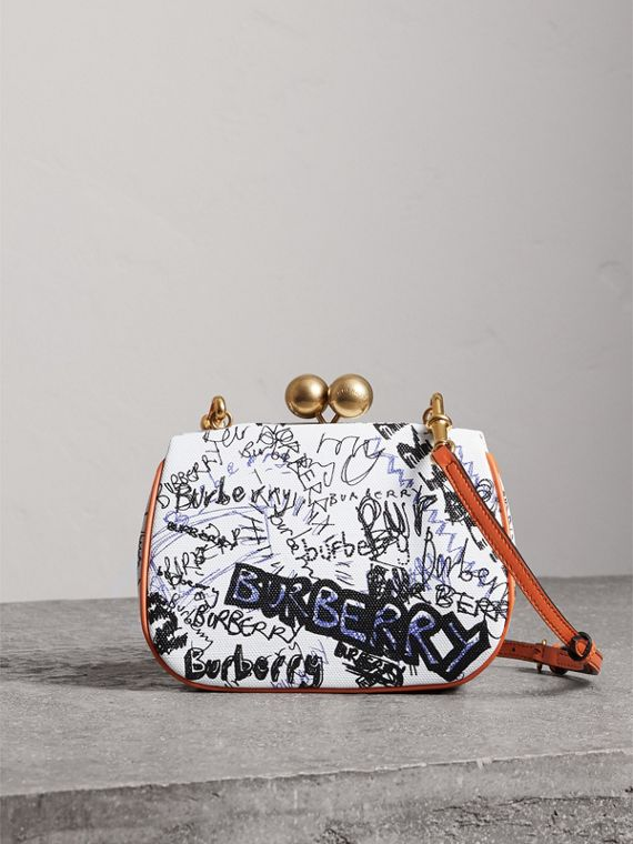 Small Doodle Print Metal Frame Clutch Bag in White/orange Saffron