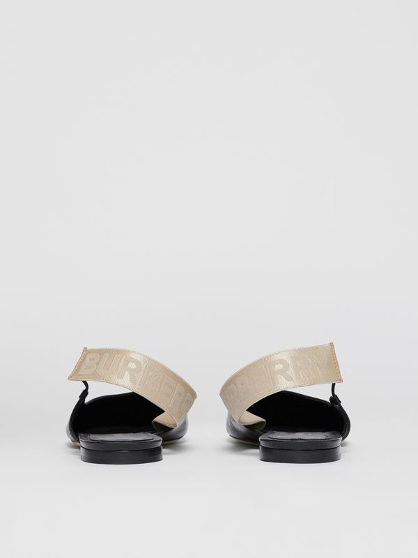 Logo Detail Leather Slingback Flats in Black - Women | Burberry - cell image 3