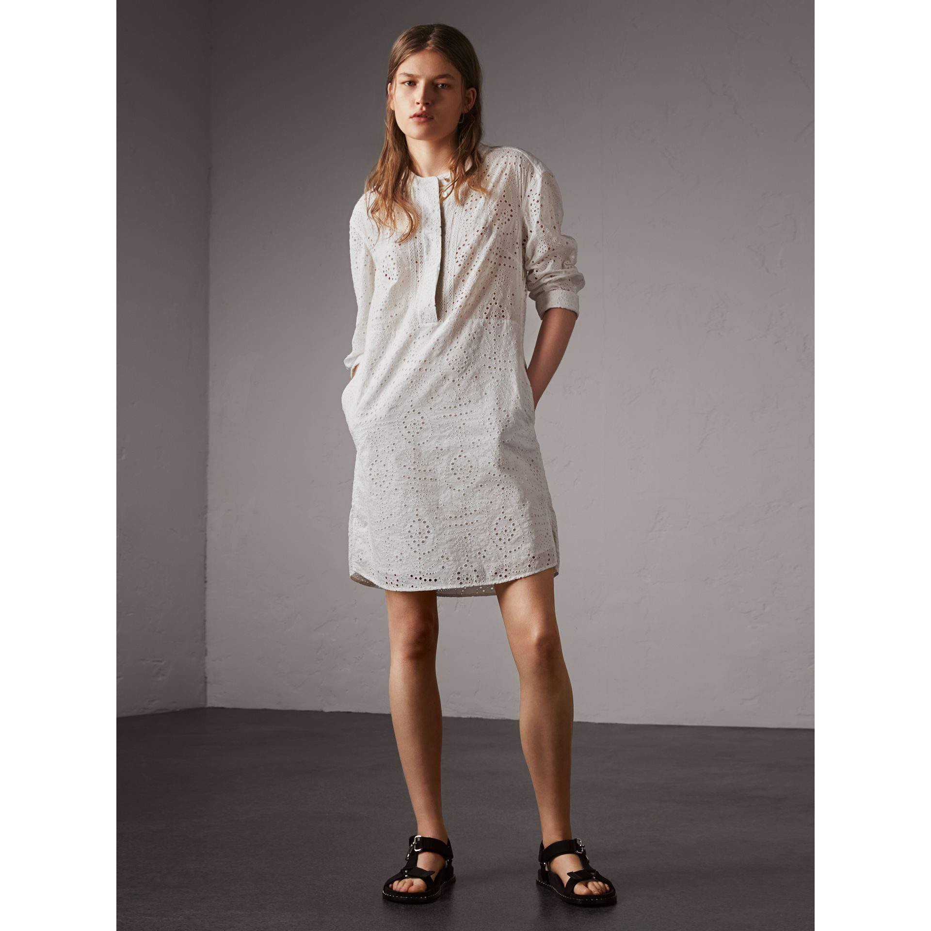 Collarless Broderie Anglaise Shirt Dress in White - Women | Burberry - gallery image 1