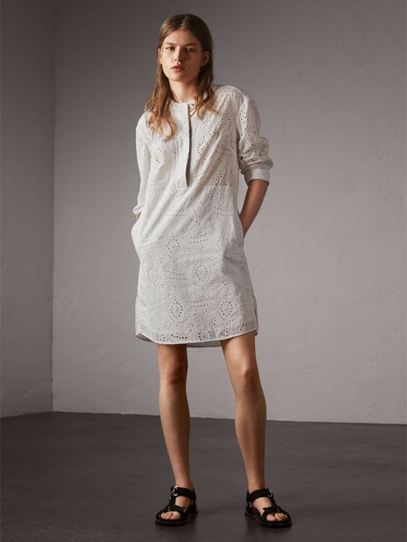 Collarless Broderie Anglaise Shirt Dress - Women | Burberry