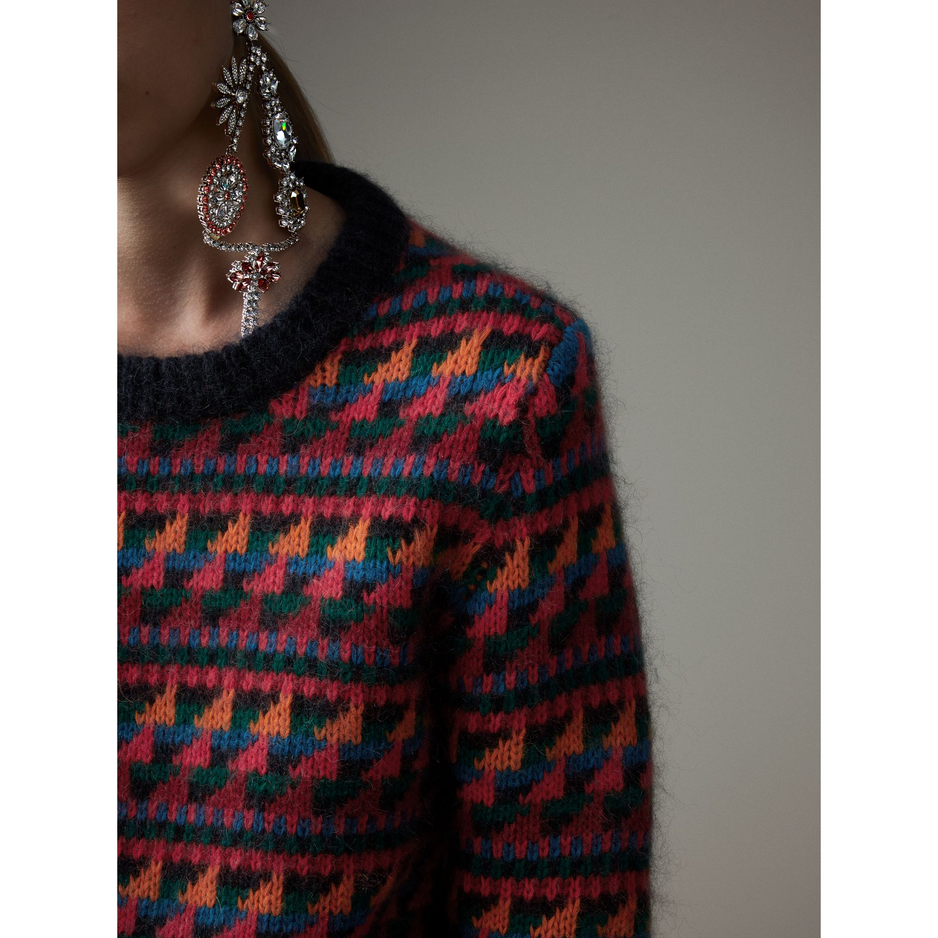Fair Isle Knitted Wool Mohair Blend Sweater in Multicolour - Women | Burberry Canada - gallery image 1