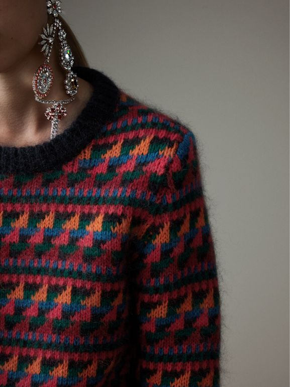 Fair Isle Knitted Wool Mohair Blend Sweater in Multicolour - Women | Burberry - cell image 1