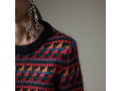 Fair Isle Knitted Wool Mohair Blend Sweater in Multicolour - Women ...