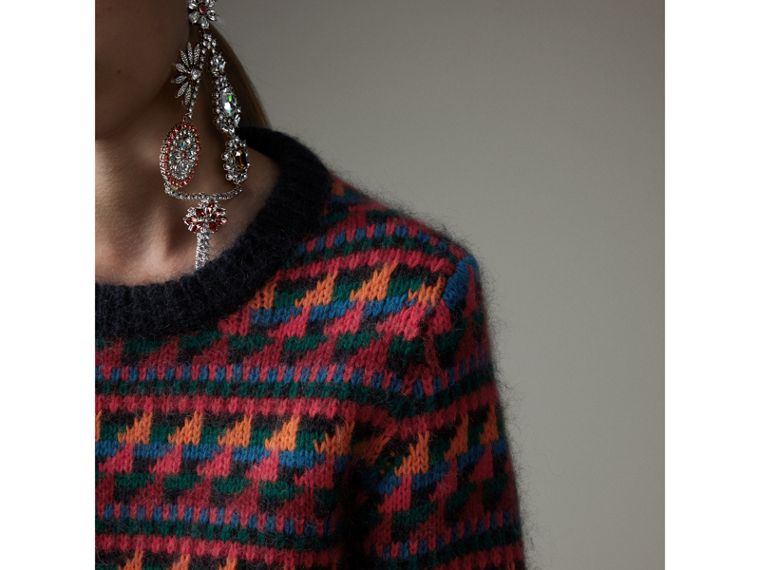 Fair Isle Knitted Wool Mohair Blend Sweater in Multicolour - Women | Burberry Canada - cell image 1
