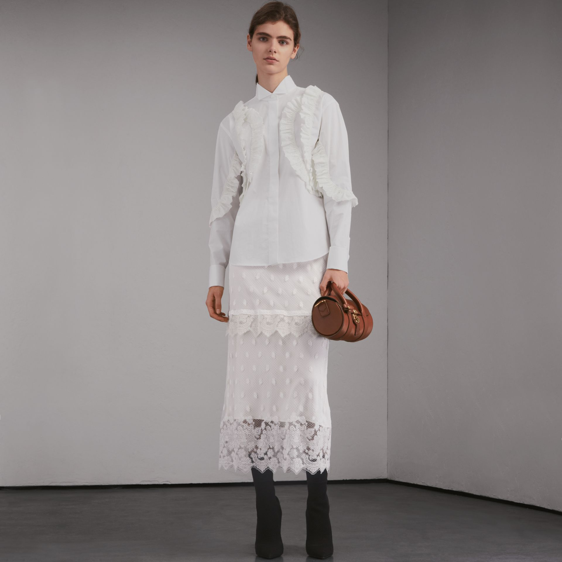 Broderie Anglaise Ruffle Stretch Cotton Shirt - Women | Burberry - gallery image 6