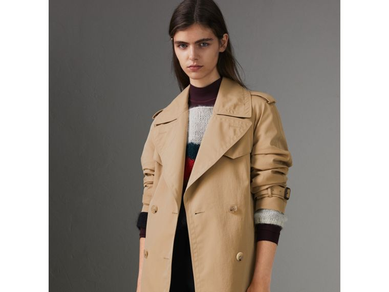 Scarf-print-lined Tropical Gabardine Trench Coat in Honey - Women | Burberry Australia - cell image 4