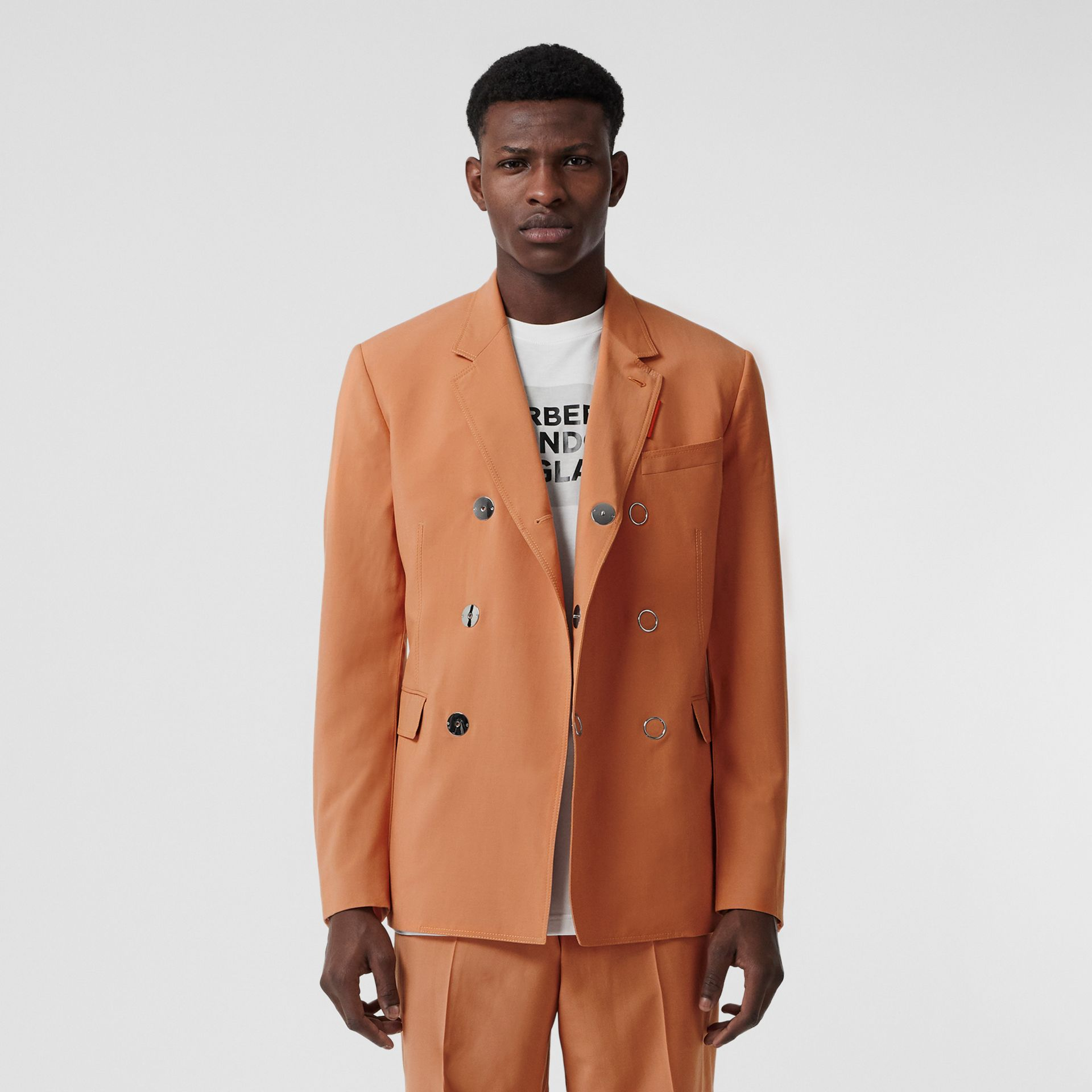 Slim Fit Press-stud Wool Tailored Jacket in Orange | Burberry Australia - gallery image 0