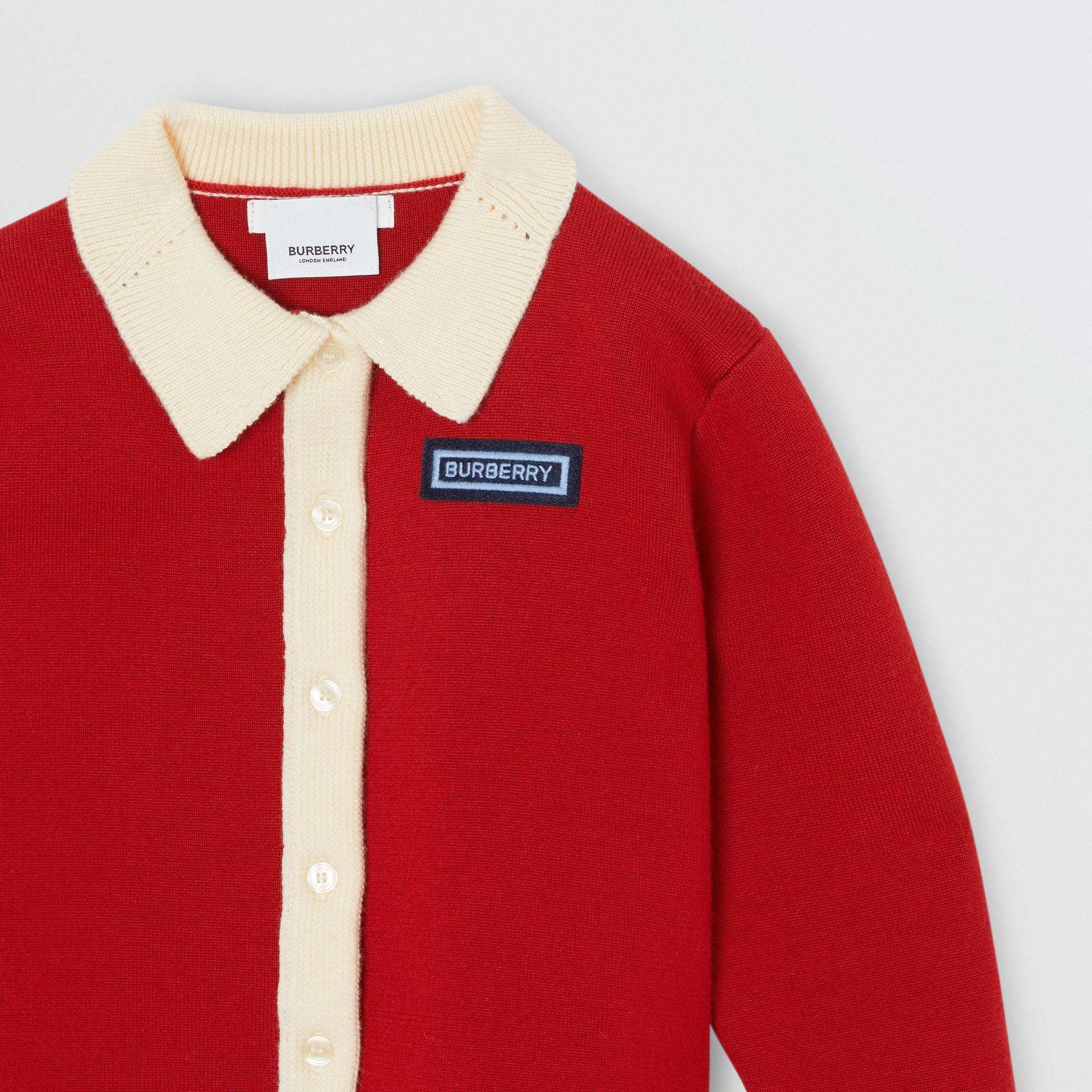 Logo Detail Merino Wool Blend Cardigan in Bright Red | Burberry - gallery image 4