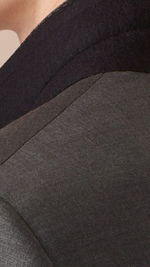 Dark grey melange Slim Fit Wool Silk Half-canvas Suit - Image 6