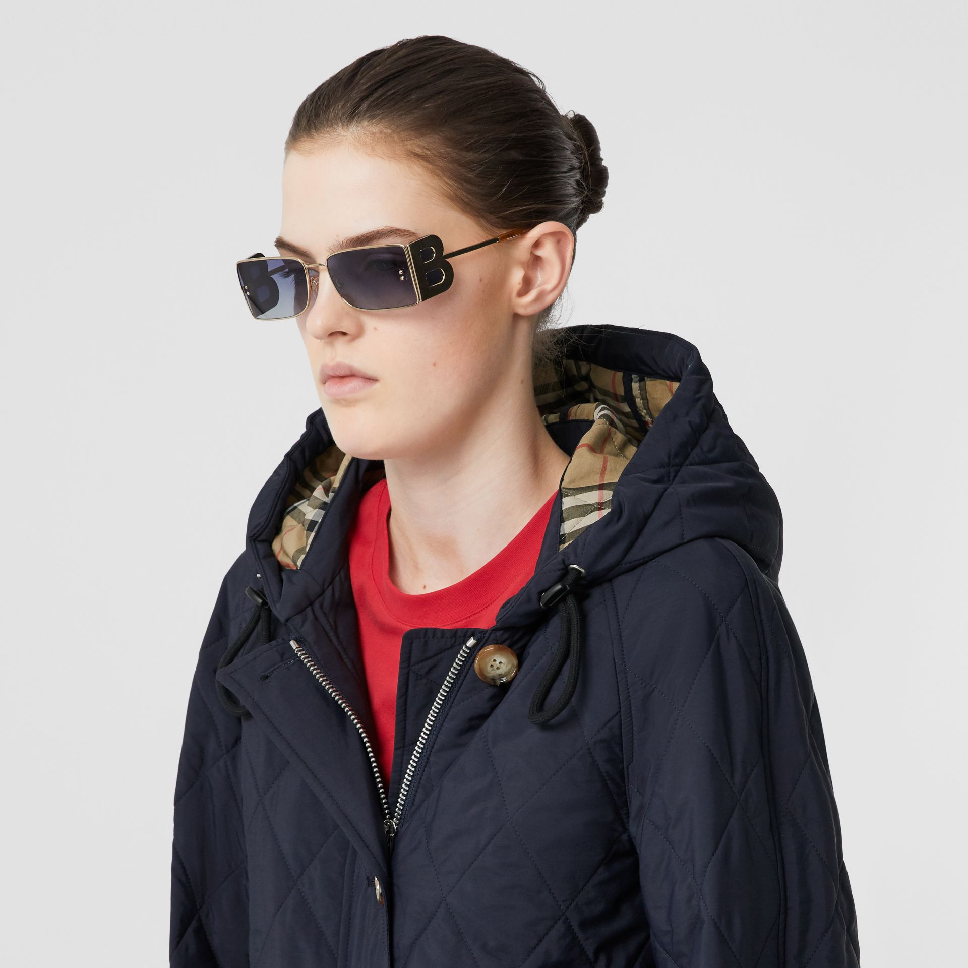 Diamond Quilted Thermoregulated Hooded Coat in Navy - Women | Burberry Australia - gallery image 1