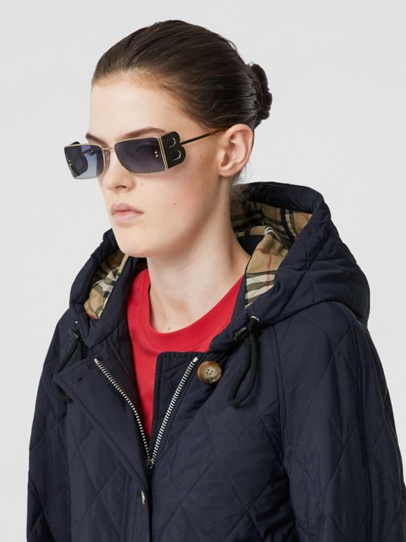 Diamond Quilted Thermoregulated Hooded Coat in Navy - Women | Burberry Australia - cell image 1