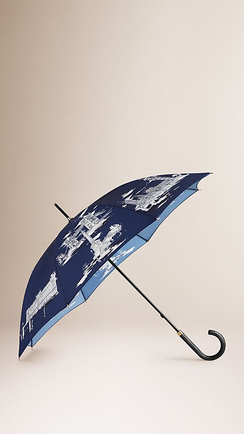 Brilliant navy print London Landmarks Walking Umbrella - Image 1