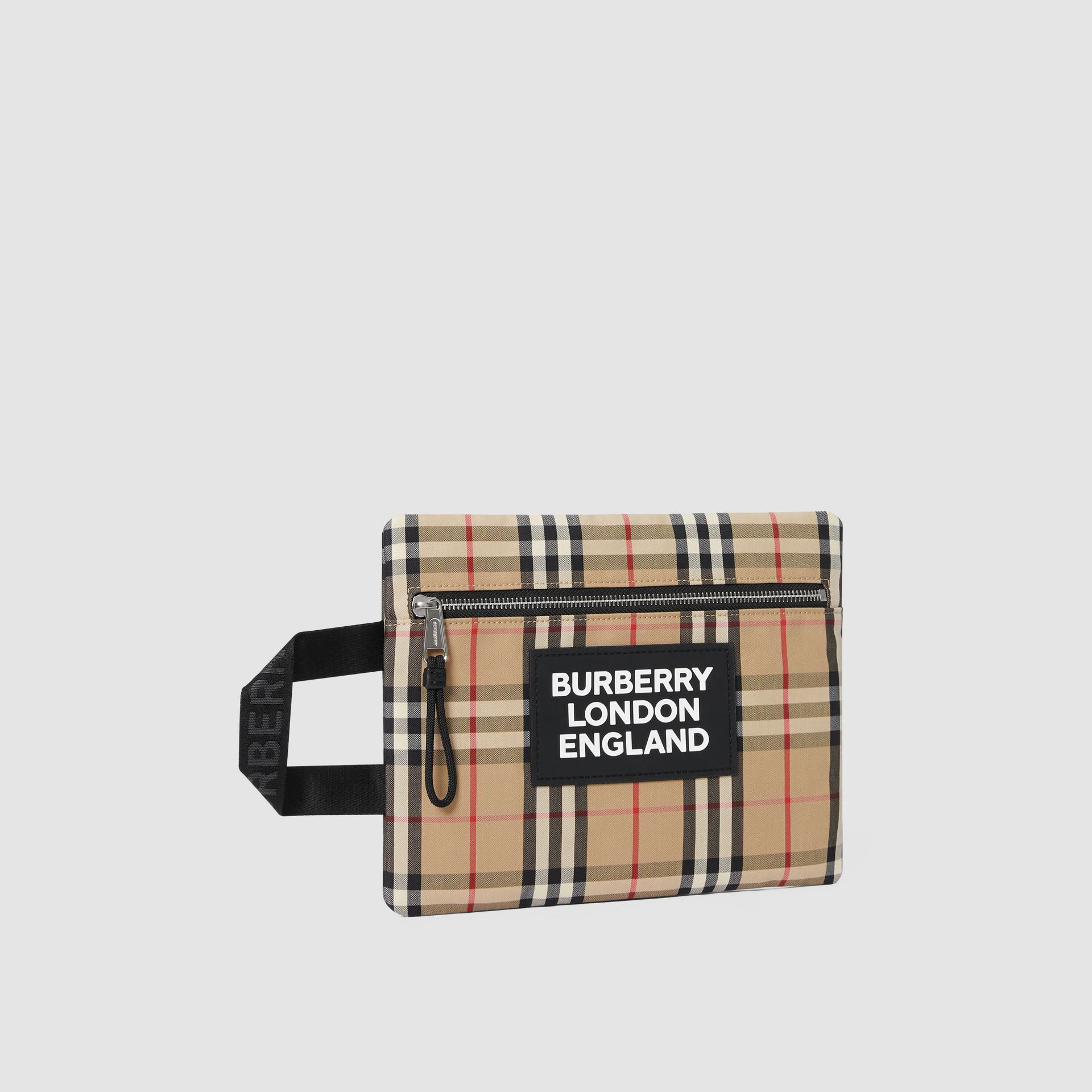 Logo Detail Vintage Check Portrait Pouch in Archive Beige | Burberry - gallery image 8