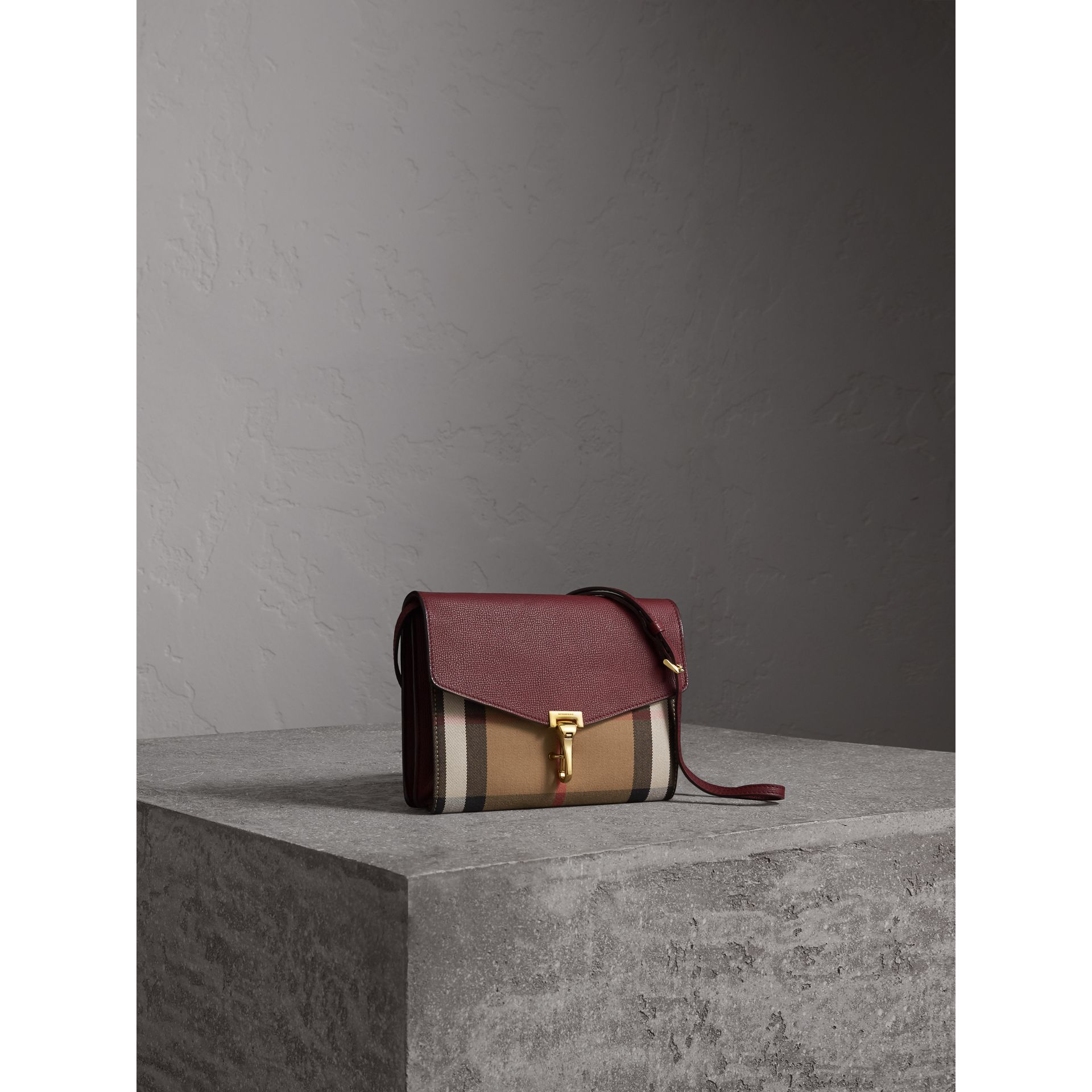 Small Leather and House Check Crossbody Bag in Mahogany Red - Women | Burberry Australia - gallery image 6