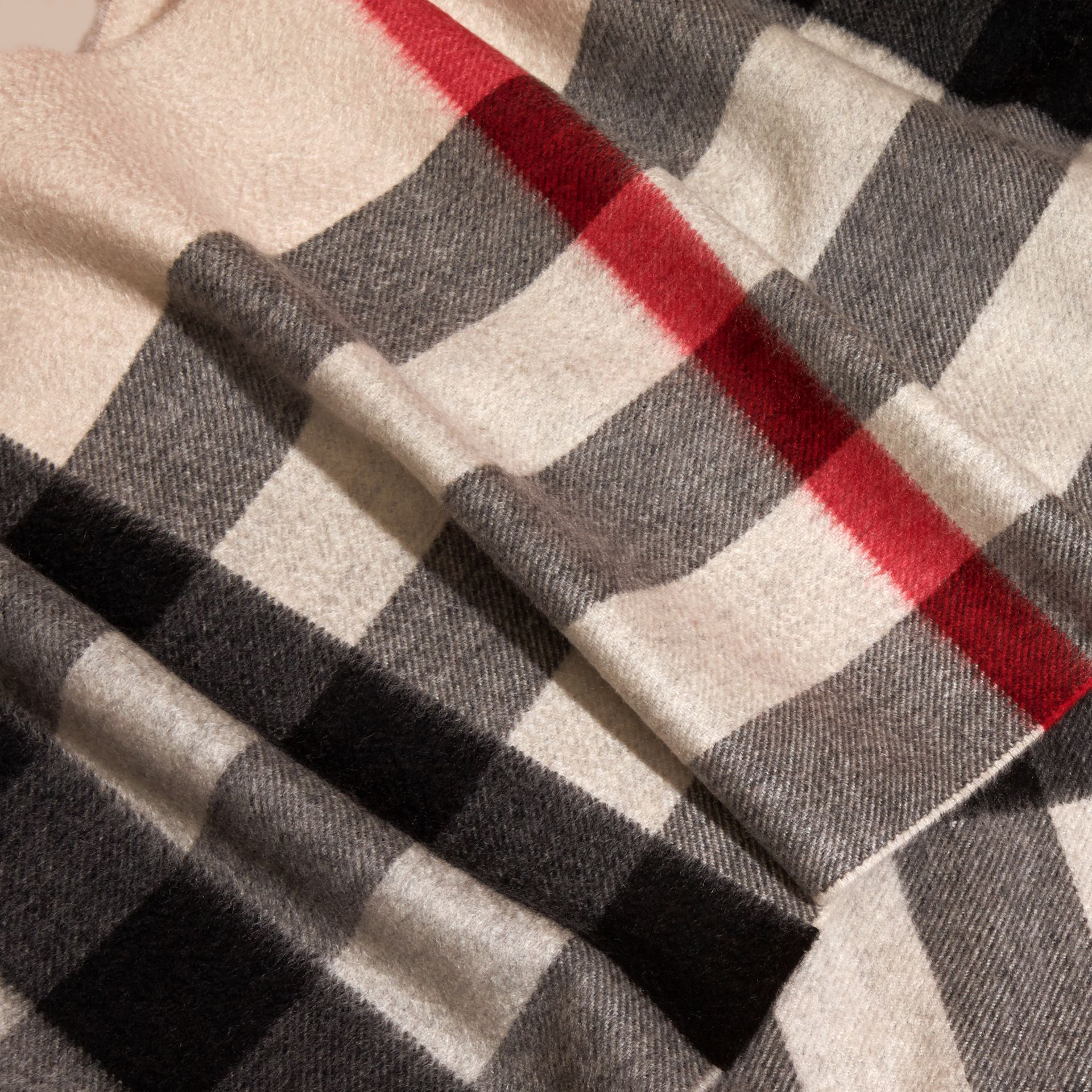 The Large Classic Cashmere Scarf in Check in Stone - gallery image 5