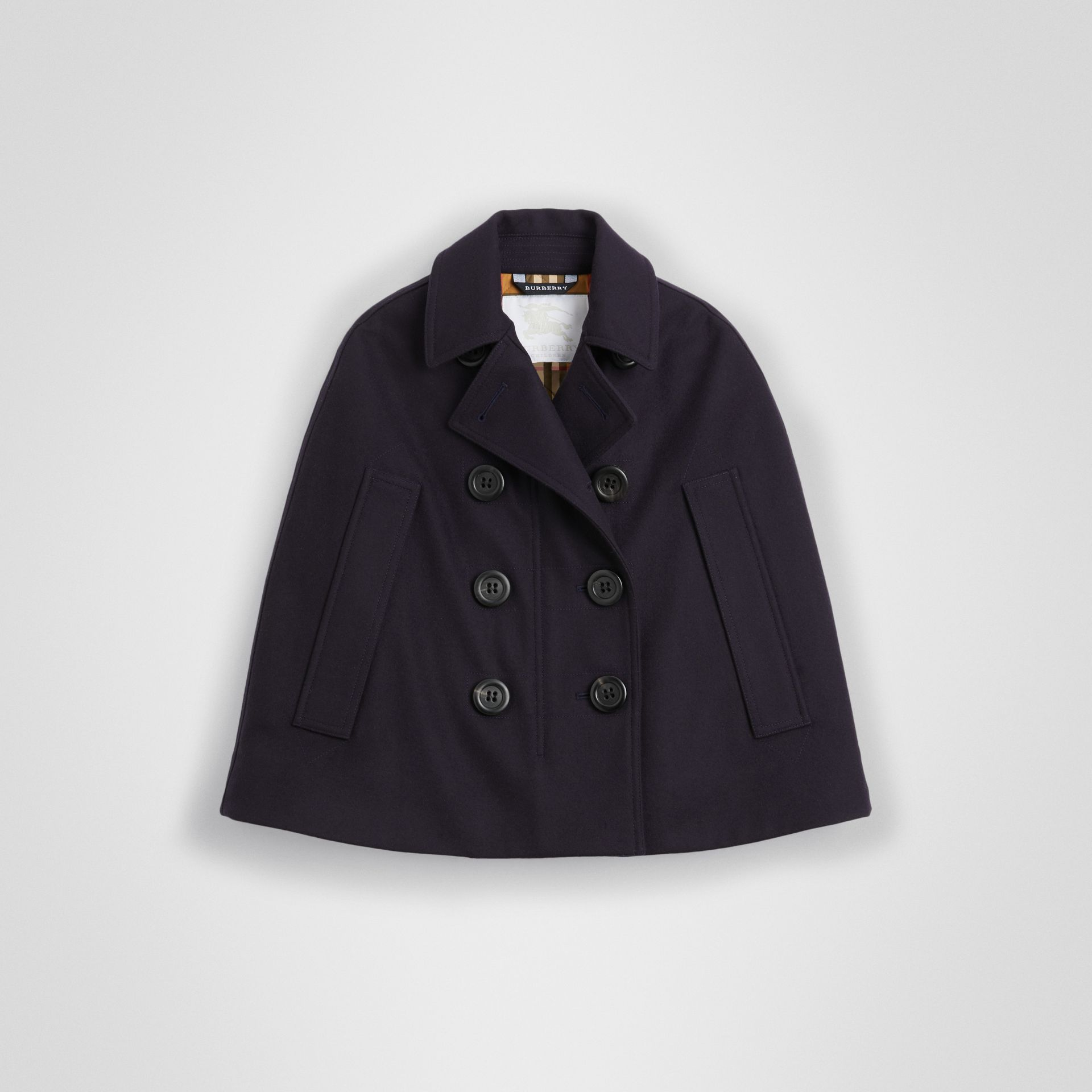 Wool Pea Coat Cape in Navy | Burberry - gallery image 0