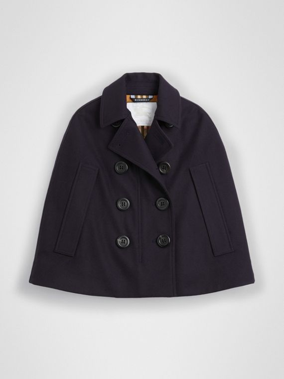 Peacoat-Cape aus Wolle (Marineblau)