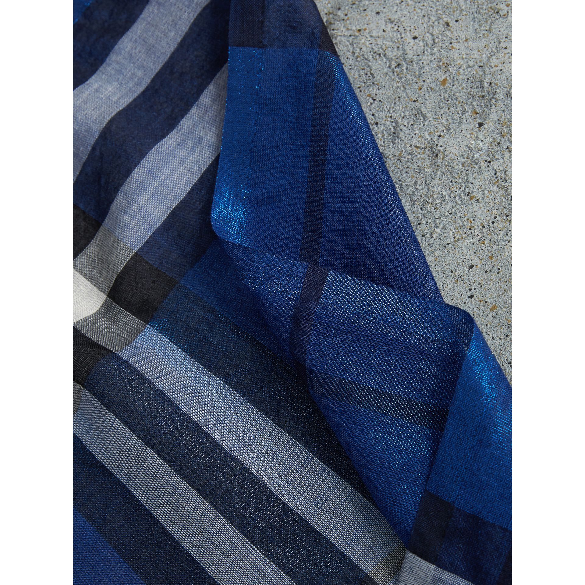 Metallic Check Silk and Wool Scarf in Bright Blue | Burberry - gallery image 2