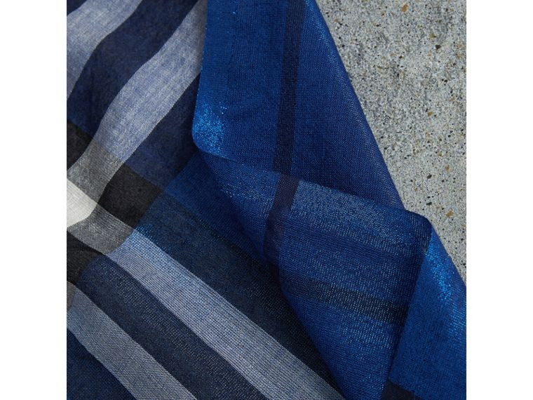 Metallic Check Silk and Wool Scarf in Bright Blue | Burberry - cell image 1