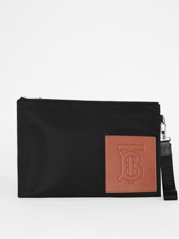 Monogram Motif Zip Pouch in Black | Burberry - cell image 3