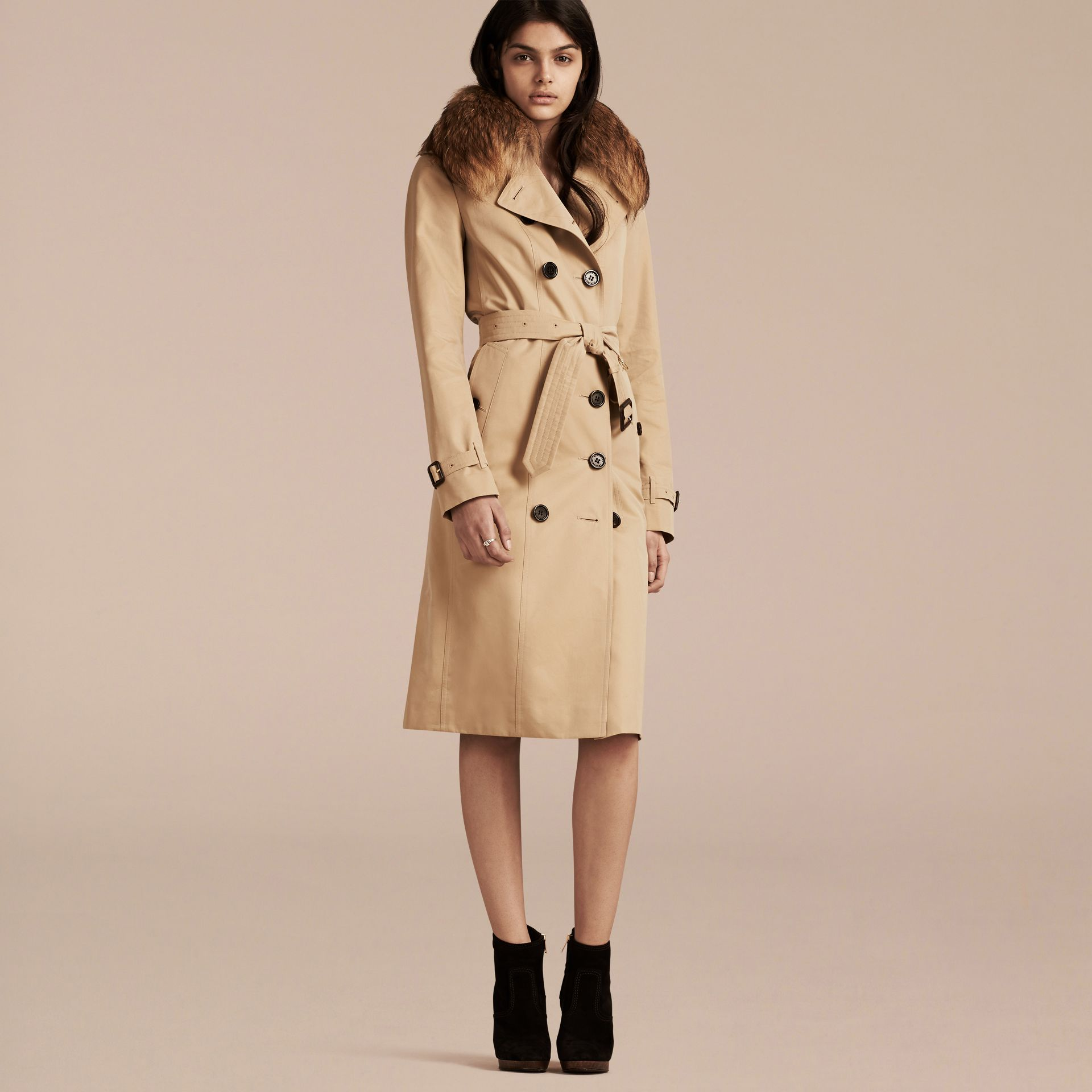 Honey Cotton Gabardine Trench Coat with Detachable Raccoon Collar - gallery image 7