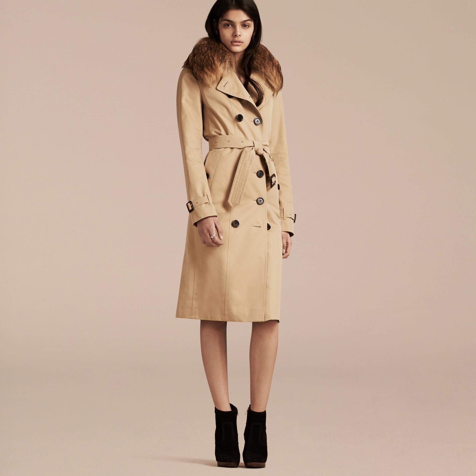 Miel Trench-coat en gabardine de coton avec col amovible en fourrure de raton laveur - photo de la galerie 7