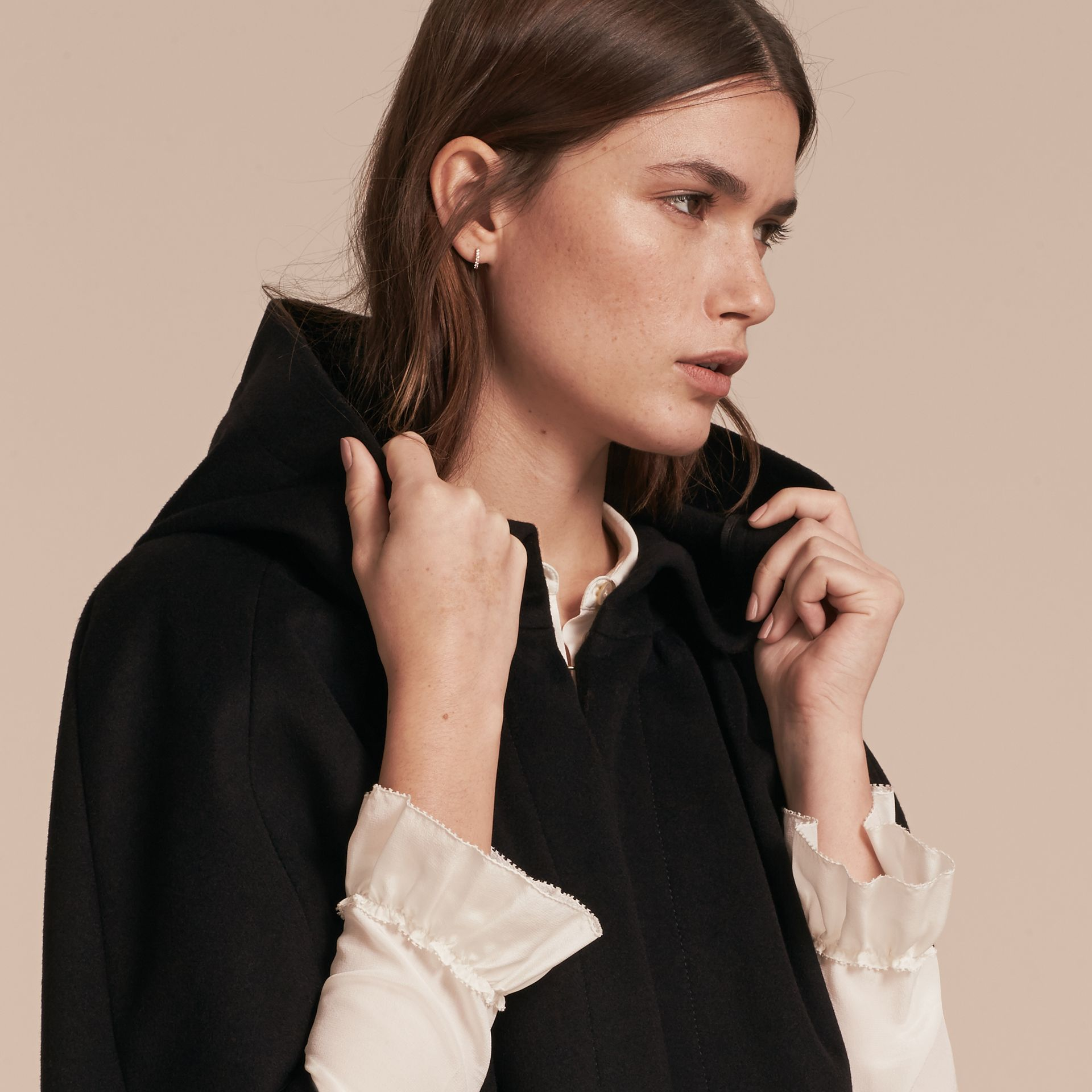 Black Hooded Wool Cashmere Cape - gallery image 5