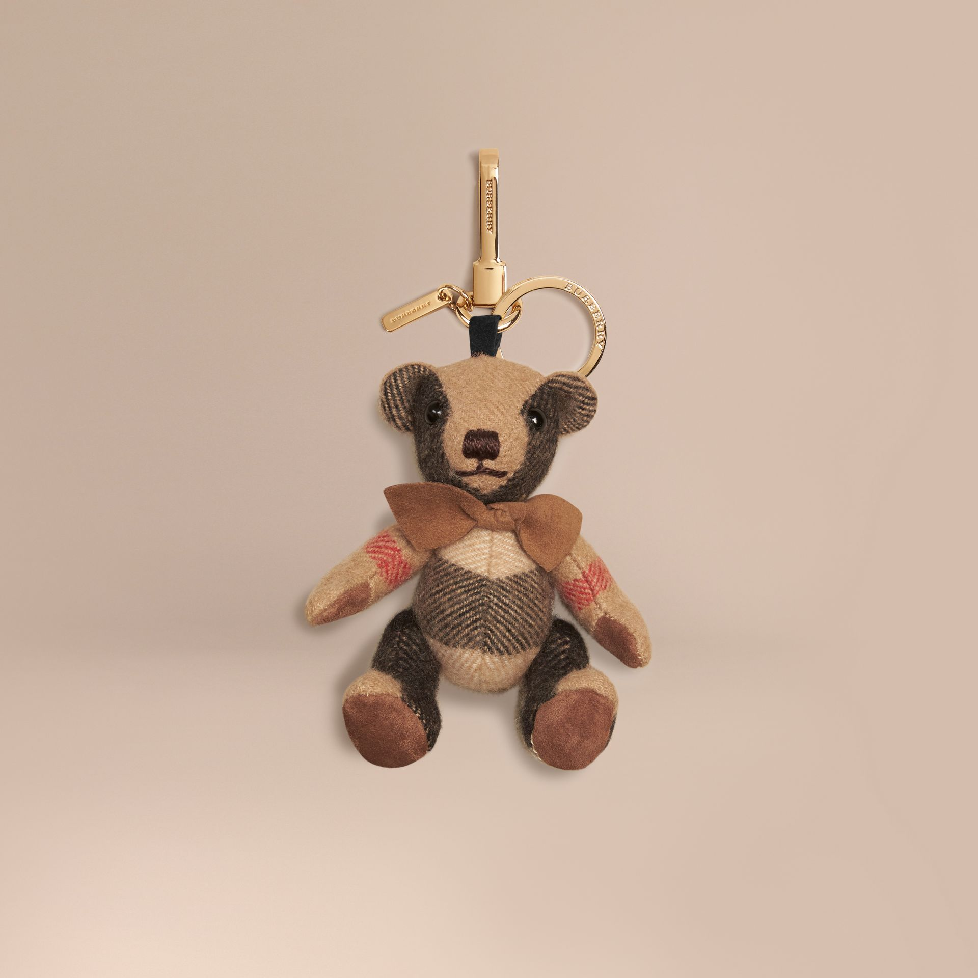 Camel Thomas Bear Charm in Check Cashmere Camel - gallery image 1