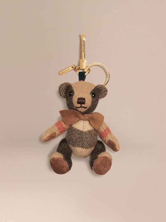 Adorno do Thomas Bear de cashmere com estampa xadrez Camel