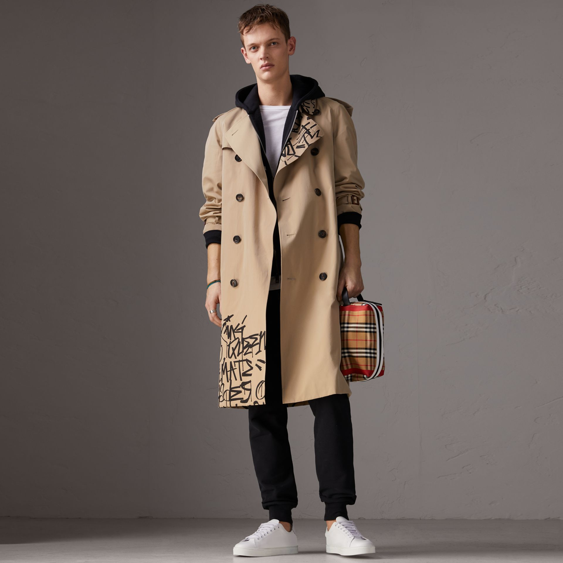 Burberry x Kris Wu Gabardine Trench Coat in Honey - Men | Burberry - gallery image 0