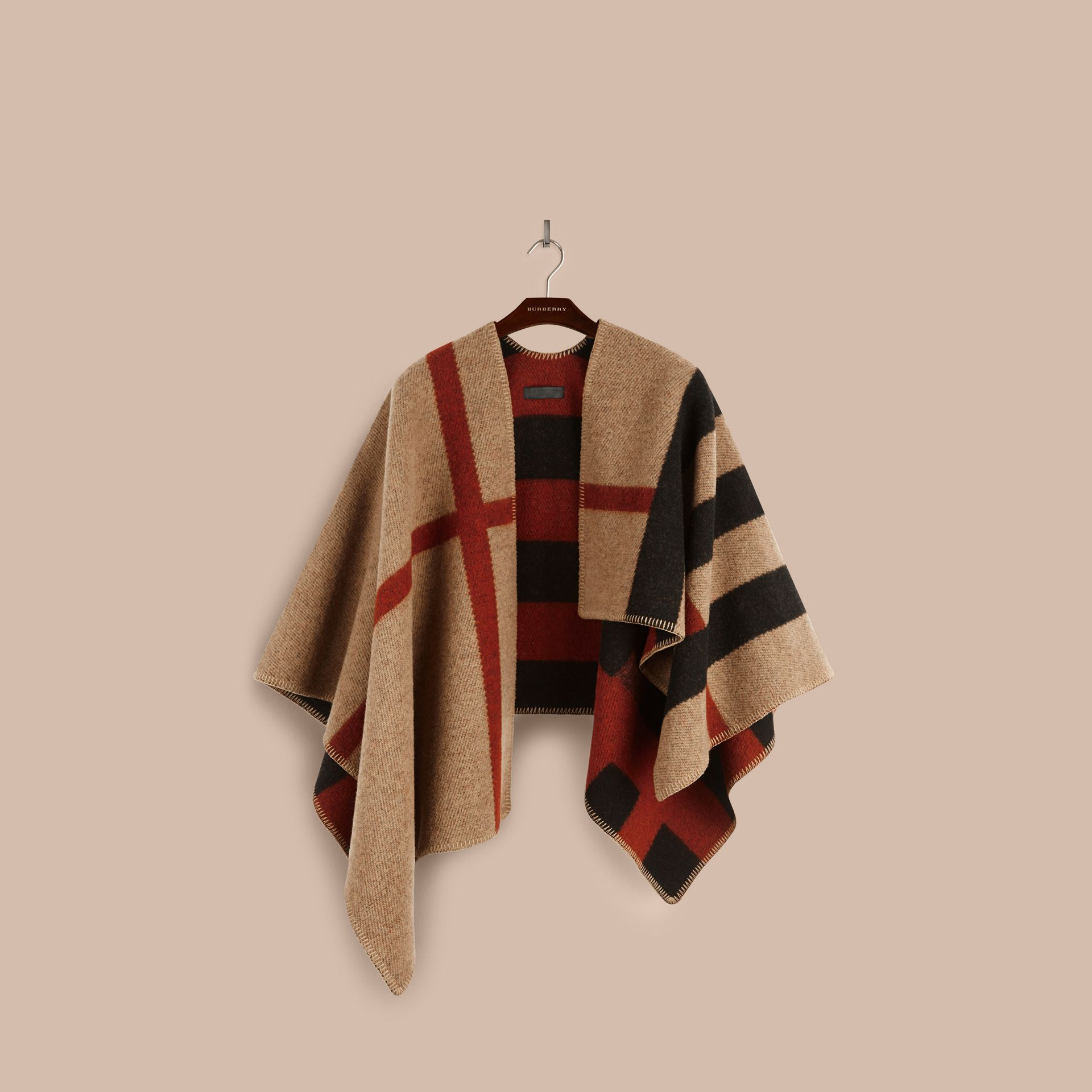 House check/black Check Wool and Cashmere Blanket Poncho - gallery image 4