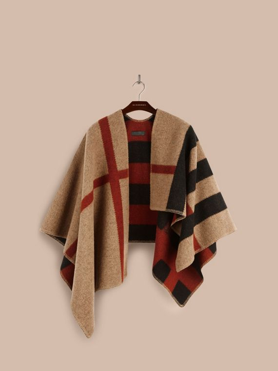 House check/black Check Wool and Cashmere Blanket Poncho - cell image 3
