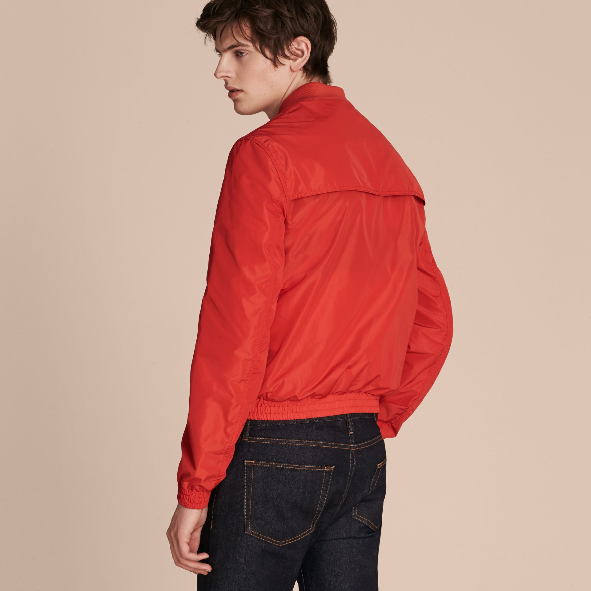 Orange red Showerproof Bomber Jacket - gallery image 3
