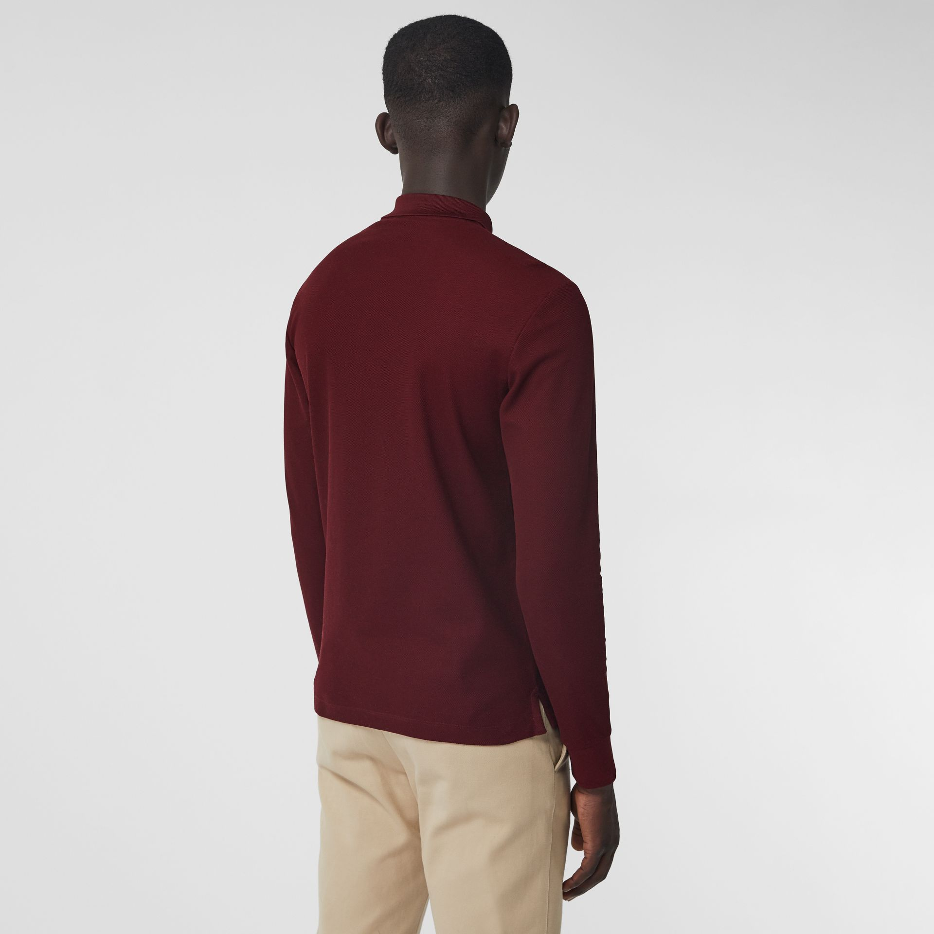 Long-sleeve Archive Logo Cotton Piqué Polo Shirt in Burgundy - Men | Burberry - gallery image 2