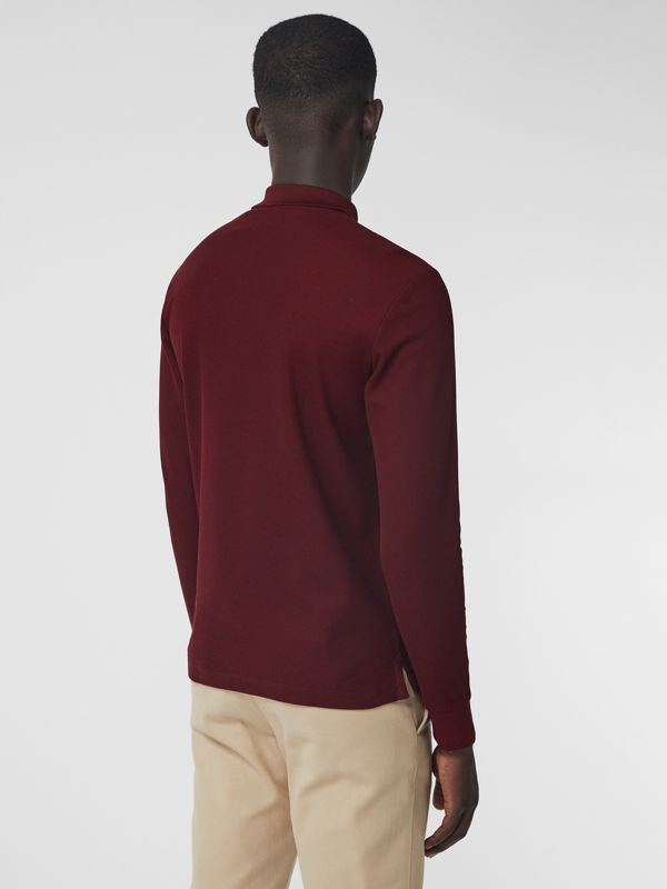 Long-sleeve Archive Logo Cotton Piqué Polo Shirt in Burgundy - Men | Burberry - cell image 2
