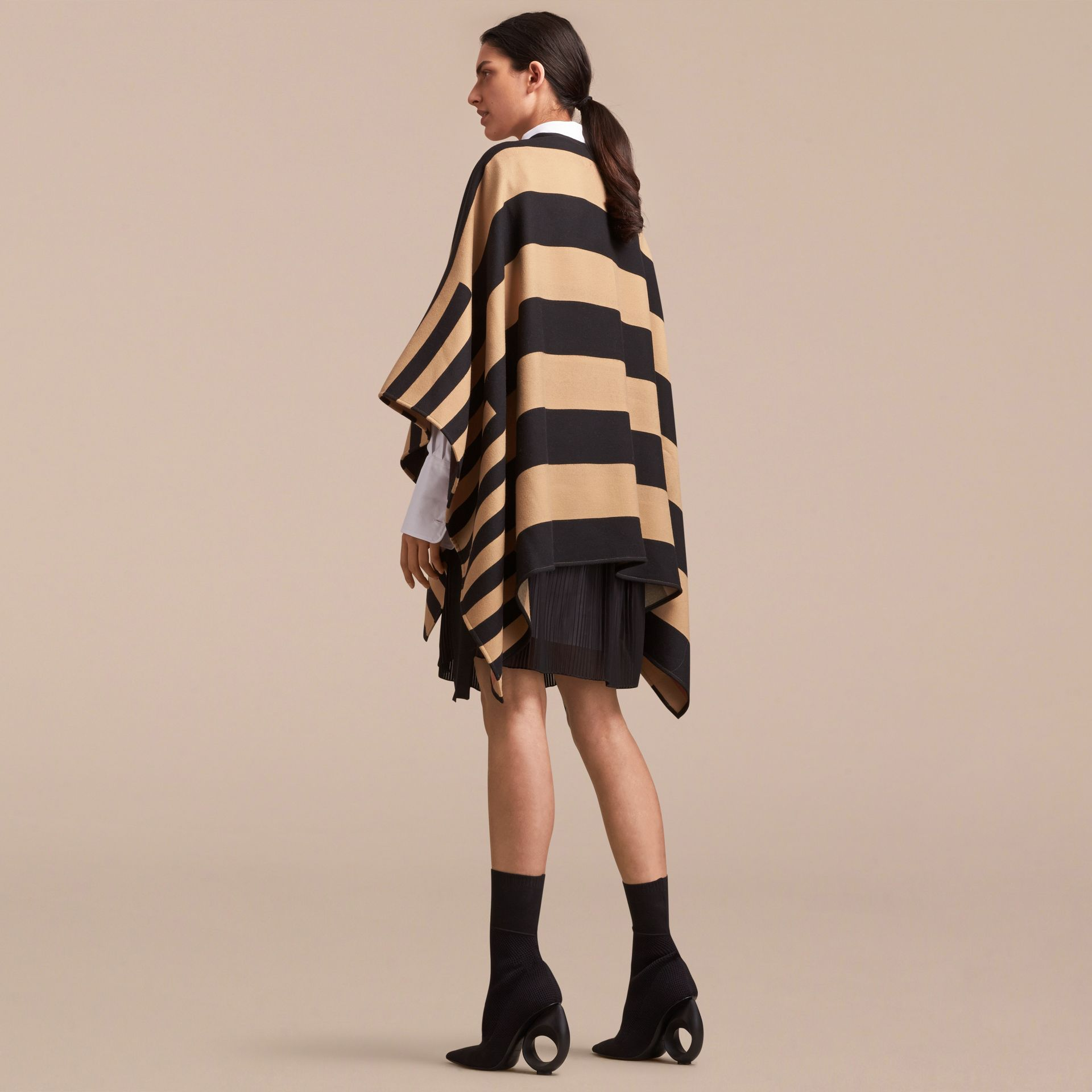 Reversible Stripe and Check Merino Wool Poncho in Camel - Women | Burberry - gallery image 3