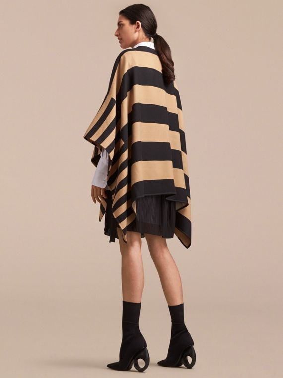 Reversible Stripe and Check Merino Wool Poncho in Camel - Women | Burberry - cell image 2