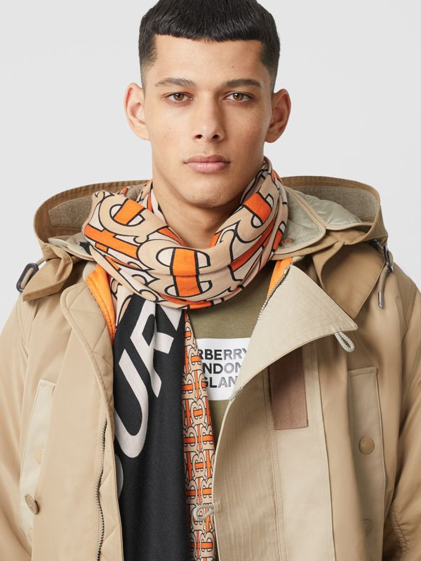 Monogram Print Cashmere Large Square Scarf in Bright Orange | Burberry - cell image 3
