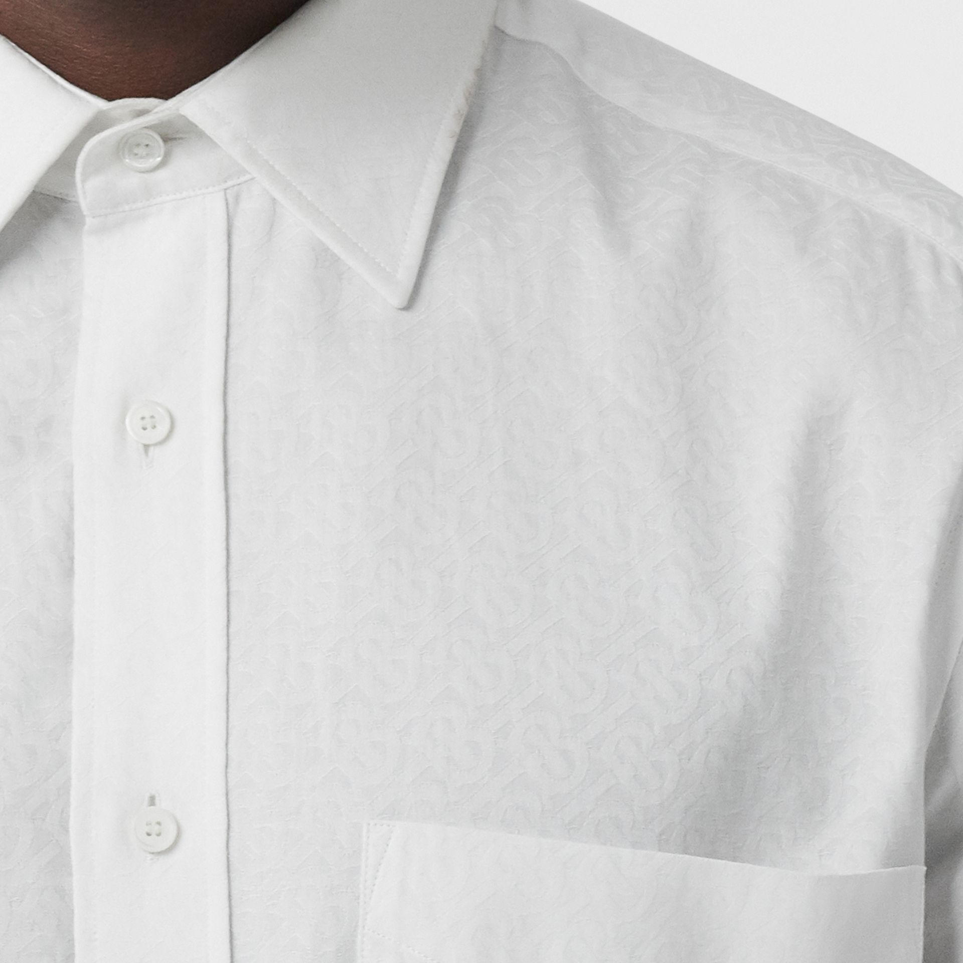 Classic Fit Monogram Cotton Jacquard Shirt in White - Men | Burberry - gallery image 4