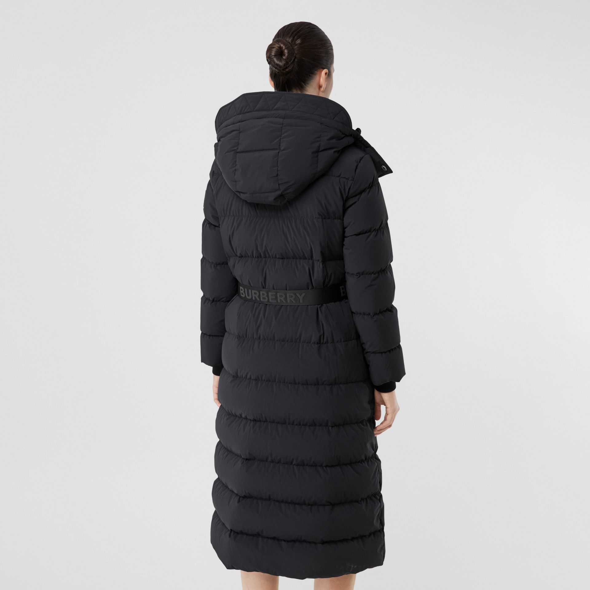 Detachable Hood Belted Puffer Coat in Black - Women | Burberry United Kingdom - gallery image 2