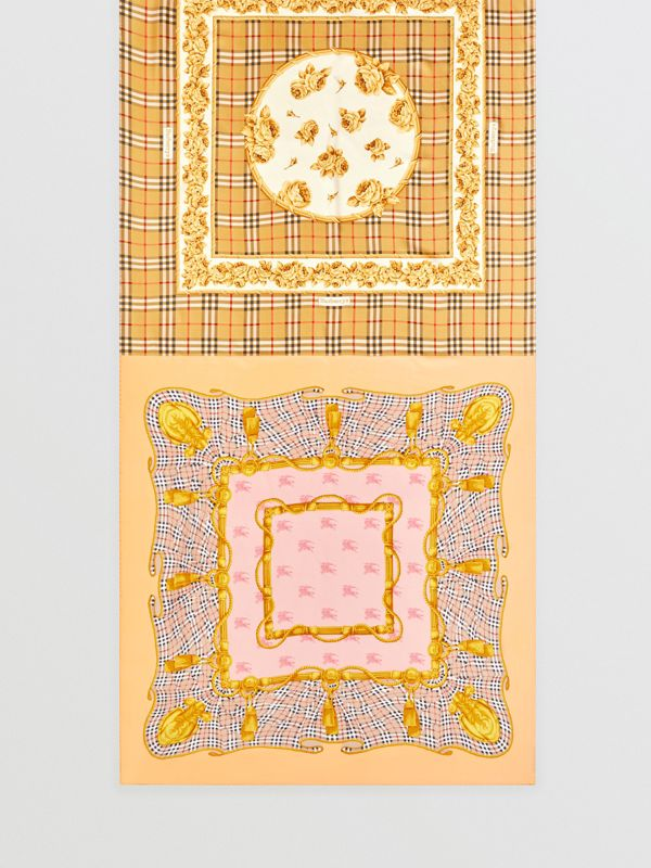 Archive Scarf Print Silk Scarf in Antique Yellow - Women | Burberry United Kingdom - cell image 3