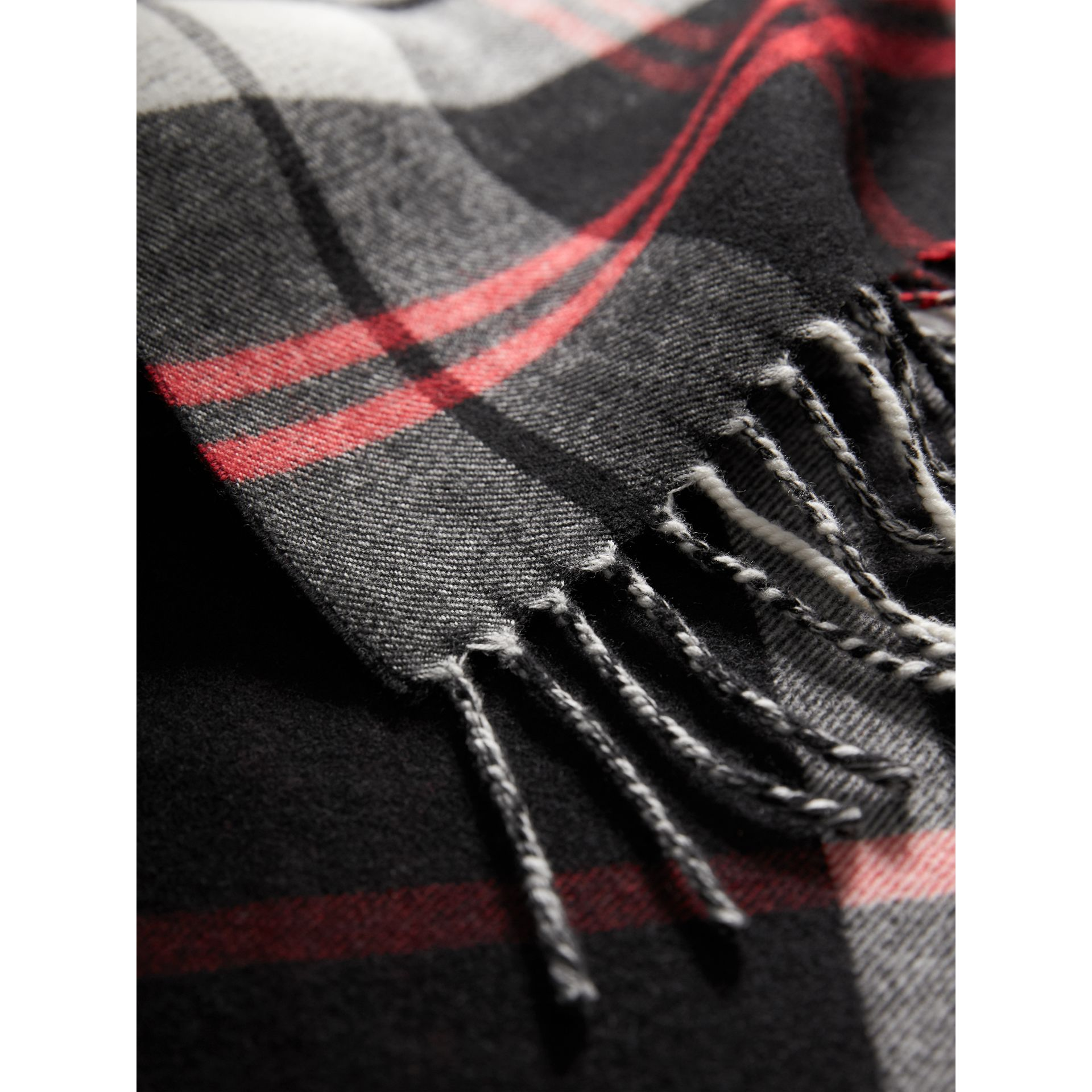Check Merino Wool Scarf in Black | Burberry United Kingdom - gallery image 1