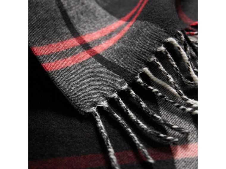 Check Merino Wool Scarf in Black | Burberry - cell image 1