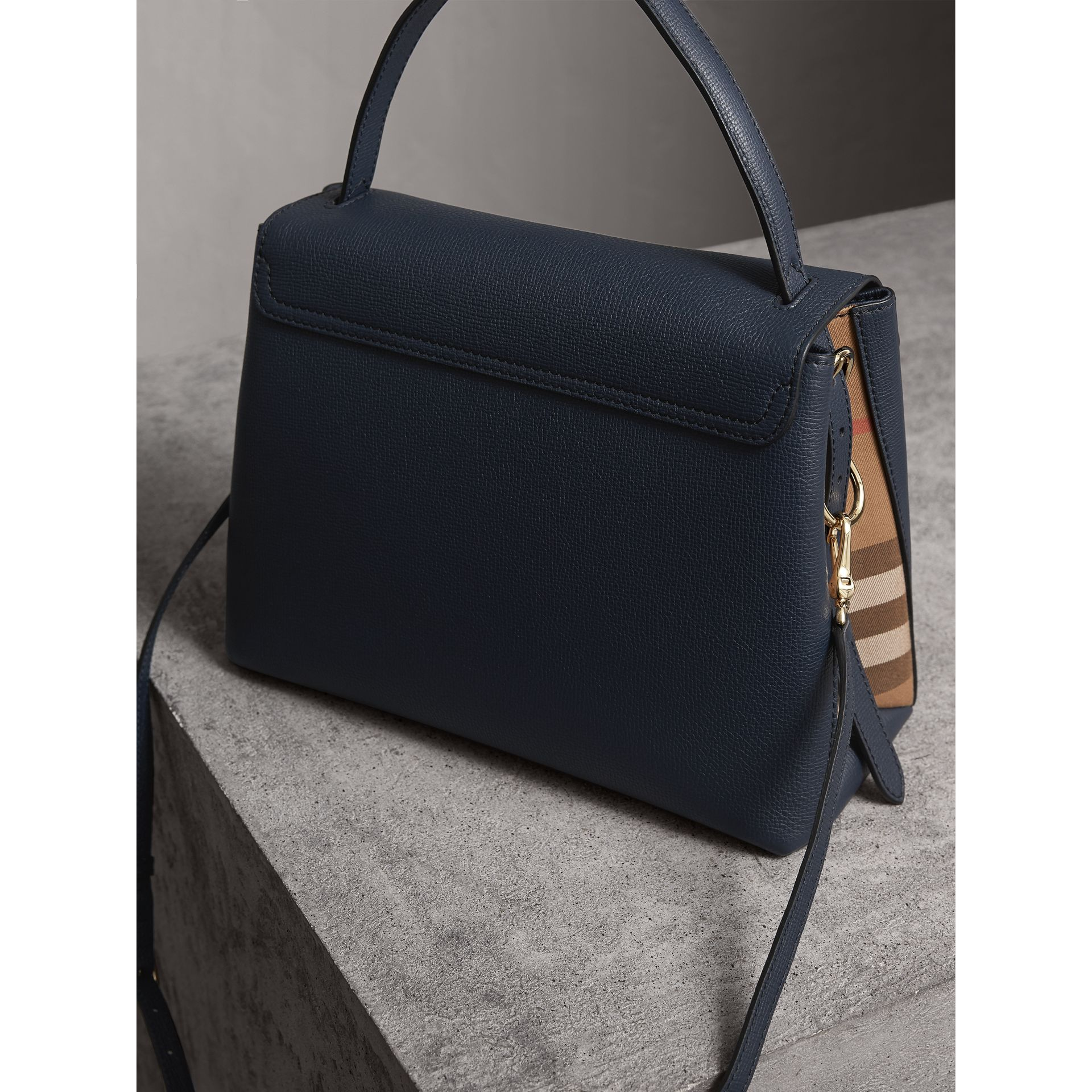 Medium Grainy Leather and House Check Tote Bag in Ink Blue - Women | Burberry - gallery image 4