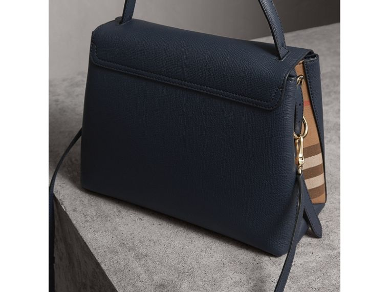 Medium Grainy Leather and House Check Tote Bag in Ink Blue - Women | Burberry - cell image 4