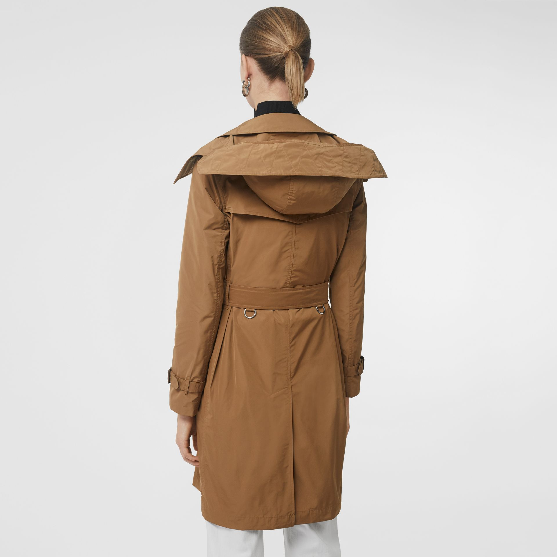 Detachable Hood Taffeta Trench Coat in Camel - Women | Burberry - gallery image 2