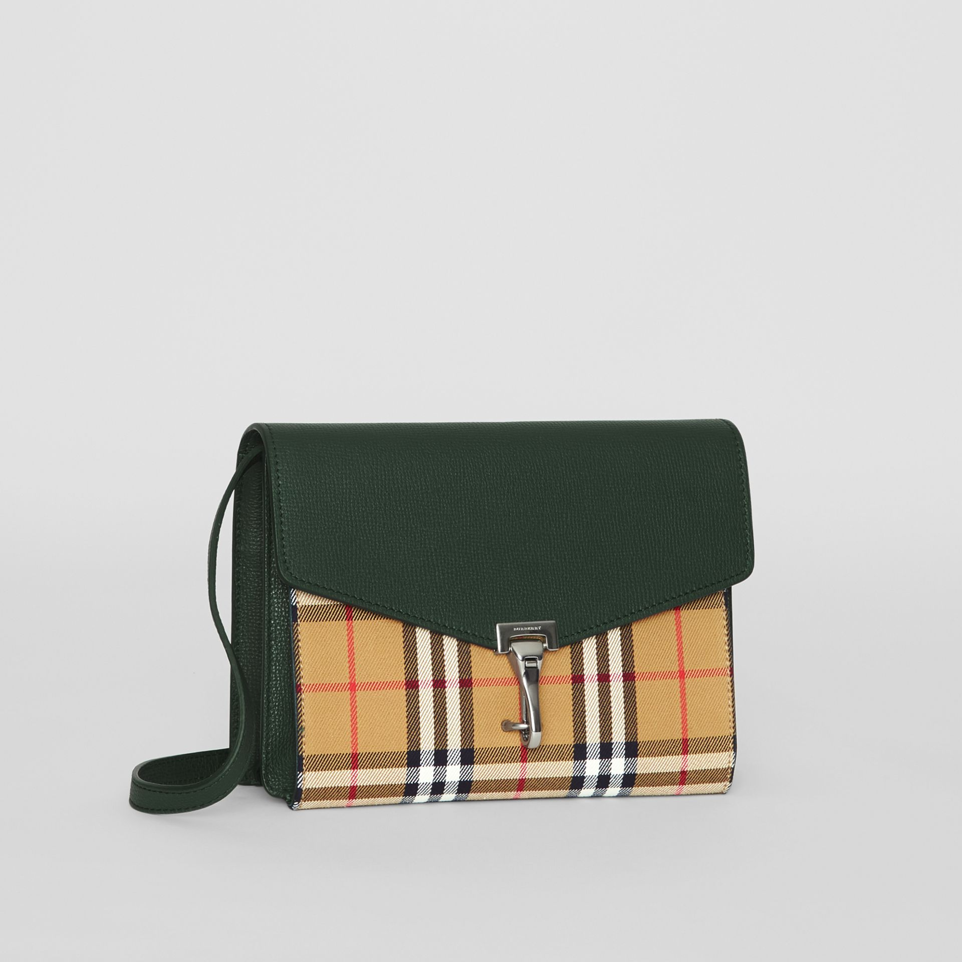 Small Vintage Check and Leather Crossbody Bag in Green - Women | Burberry Australia - gallery image 6