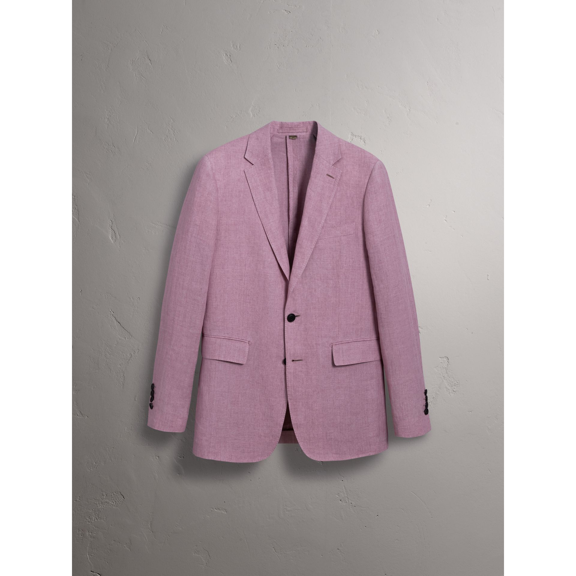 Soho Fit Linen Tailored Jacket in Pink Heather - Men | Burberry Australia - gallery image 3