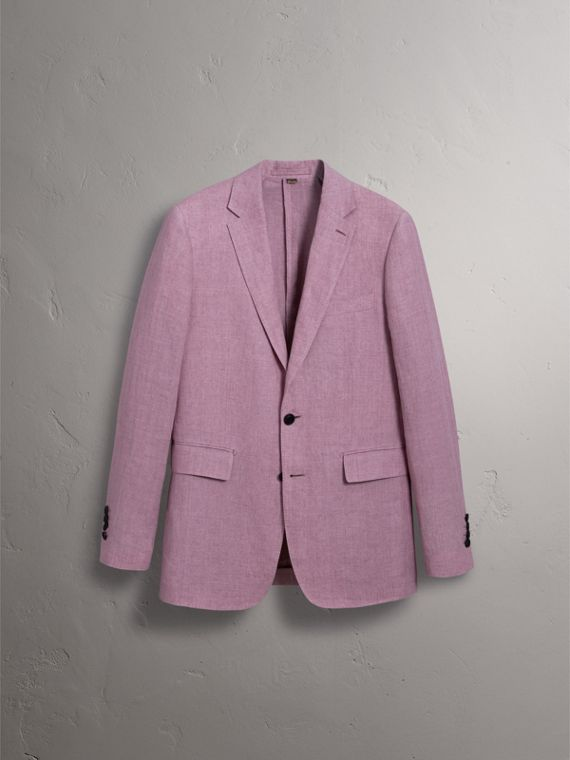 Soho Fit Linen Tailored Jacket in Pink Heather - Men | Burberry Australia - cell image 3