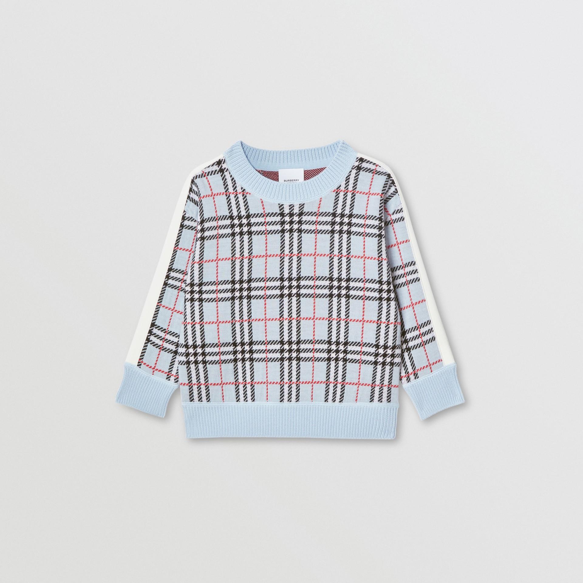 Check Merino Wool Jacquard Sweater in Pale Blue | Burberry Australia - gallery image 0